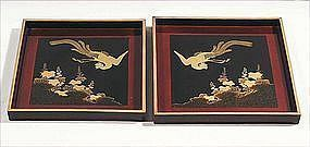 Elegant Lacquer, Makie Tray Set, Ho-Bird, 19c