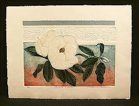 Lovely Etching, Magnolia Flower by Mary E. Davidson