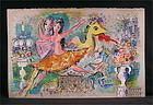 """Original Lithograph by Charles Cobelle, """"The Dancers"""""""