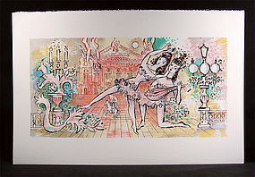 "Original lithograph by Charles Cobelle, ""The Lute"""
