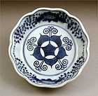 Blue and White Ko Imari Bowl Ka-Mon Peach 19c