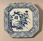Blue and White Ko Imari Sq Charger 19C