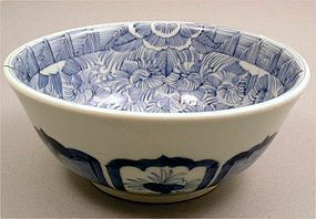 Very Unusual Japanese Ko Imari Blue and White Bowl 19c