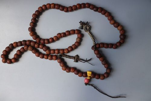 Antique bodhi seed 108 bead antique mala with, brass bell and dorje.