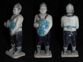 Large glazed Ming China pottery fatman musician!