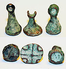 Lot of 3 uncleaned Bactrian bronze stamp seals!