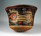 Important Pre Columbian Nazca pottery jar w lizards!