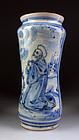 Rare dated Italian Alberello faiance ceramic vase 1730!