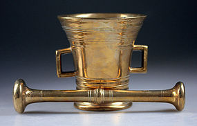 Early Danish redish brass mortar w pestle, c. 1780!