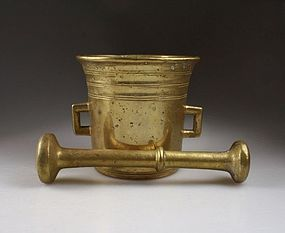 Huge baroque North European brass mortar