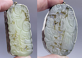 Pair of fine mounted Chinese jade carvings, 20th. century