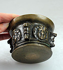 Sharp 16th. cent.Spanish bronze mortar - a gem!