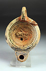 High quality Roman pottery oil lamp with makers name!