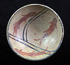Superb Islamic pottery bowl, with 3 fishes  10th.-11th. cent.