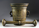Monumental 17th. century Italian bronze mortar w pestle!