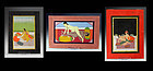 Set of three Indian Erotic Gouache drawings, 19th. century!