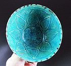 Choice Carved Islamic Torquise blue pottery bowl, Seljuqs