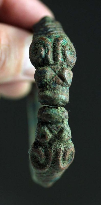 Rare and larger Luristan bronze bracelet w Goat head terminals!