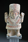 High Quality Pre columbian pottery rattle figure, Olmec or Mayan!
