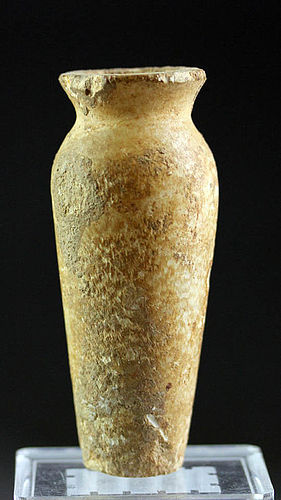 Large Egyptian limestone ointment jar!