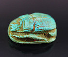 Rare Torquise faiance scarab, with private or royal name!