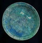 A rare & choice torquise islamic pottery dish, ca. 12th. century AD