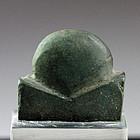 Egyptian amulet of the Sun God Ra in dark green stone!
