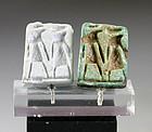 Rare Egyptian faiance Scaraboid amulet of Thutmosis III!