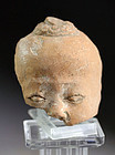 Fine Early Javanese terracotta head, 10th. cent. Chinese man!!