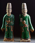 A rare set of two large Chinese Ming Dynasty pottery attendants!