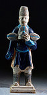 A choice Chinese Ming Dynasty pottery figure w. Ming hat!