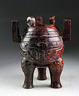 Superb large Chinese archaistic blood-red jade vessel - gem!