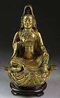 Lovely Sino-Tibetan gilt bronze figure of Guanyin - rare!