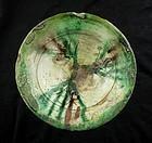 Islamic Bamiyan splashed sgraffiato pottery dish 10th-12th cent AD
