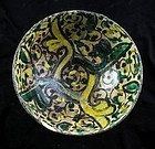 A Superb Islamic pottery bowl w. floral design, 11th-12th cent AD