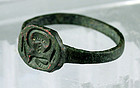 Fine Byzantine bronze seal (signet) ring, 6th.-7th. century AD