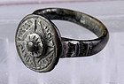 Fine Byzantine silver ring with high dome - attractive