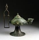XXL Islamic bronze oillamp Seljuks of Khorasan, 11th. century