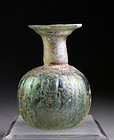 Large Roman ribbed Sprinkler flask w. exceptional patina!