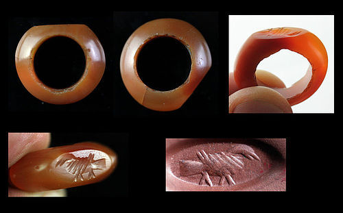 Wonderful ancient Sassanian Carnelian seal ring, 3rd.-5th. AD