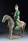 XL Ming Dynasty Tomb pottery horseman soldier, c. 1500 AD!