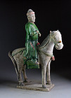 XL Ming Dynasty Tomb pottery horseman, c. 1500 AD!