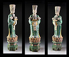 Museum Quality Chinese male Ming pottery figure on lotus throne!