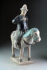 Massive Chinese tomb pottery horseman, Ming Dynasty 1368-1644!