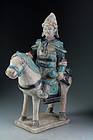 Superb Chinese Ming Tomb pottery figure of armed horseman!