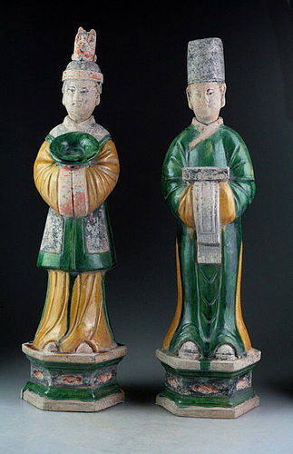 Pair of XL 49 cm. tall Ming Dynasty pottery figures - Male & female