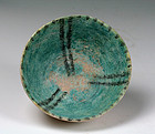 Nice Islamic Torquise blue pottery bowl, from the Seljuq empire!