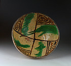 Choice & rare ancient islamic glazed pottery bowl, 12th century AD