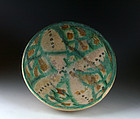 A rare, larger Islamic polychrome pottery bowl, 12th cent AD