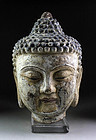 Important Ming dynasty Chinese Life size iron Buddha head!